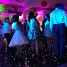 Party Dancers on Black Starlit Dancefloor